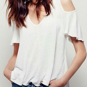 Free people cold shoulder white linen blouse